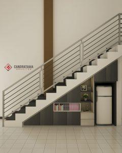 lemari bawah tangga dengan rak terbuka daerah polewali